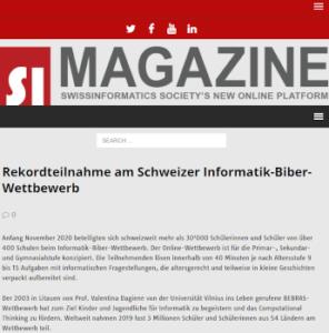 Rekordteilnahme am Schweizer Informatik-Biber-Wettbewerb